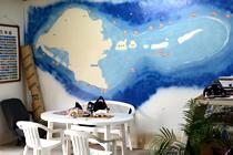 久米島のダイビングポイントが大きく壁に